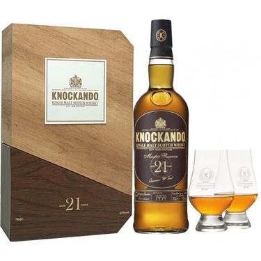 Whisky Ecosse Speyside Single Malt Knockando 21ans Coffret 2 Verres 43% 70cl